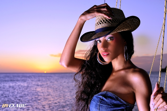 Hat, jeans dress and sunset